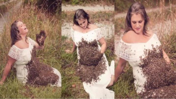 Gestante fez ensaio com milhares de abelhas e o pior acontece com bebê; fotos