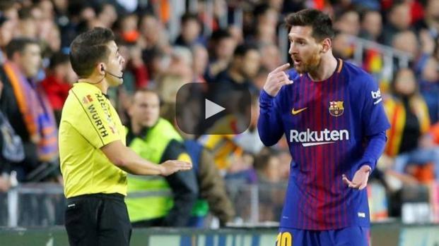 Messi y su indignación en Valencia