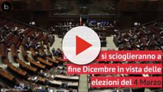 Scioglimento delle camere a fine Dicembre in vista delle elezioni di Marzo