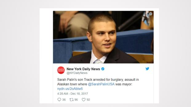 Track Palin arrested and charged for burglary and assault, creates tweetstorm