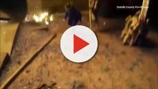 Vídeo: pai joga criança de prédio em chamas e bombeiro salva