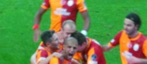 La festa del Galatasaray al momento del gol