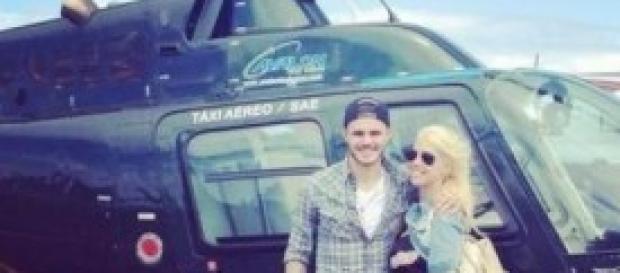 Mauro Icardi e Wanda Nara in elicottero (twitter)