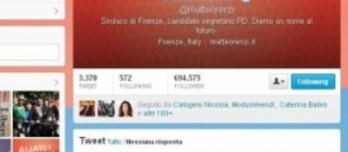 La pagina twitter di Matteo Renzi
