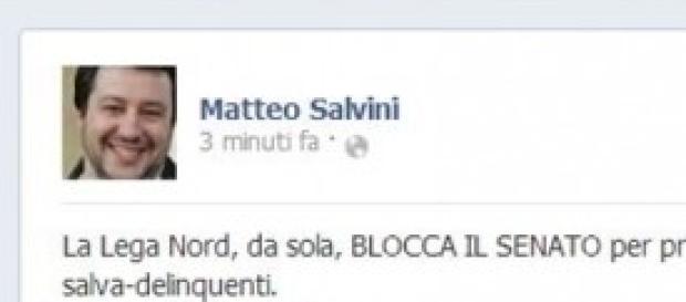 Matteo Salvini su blocco del senato