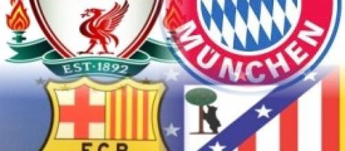Gli stemmi di 4 squadre del calcio europeo