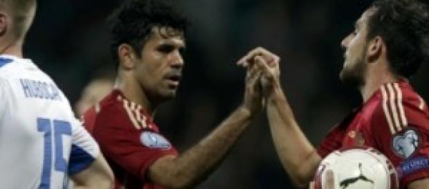 Paco Alcacer y Diego Costa, juntos marcando