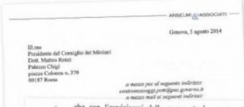 Lettera inviata al Premier Renzi