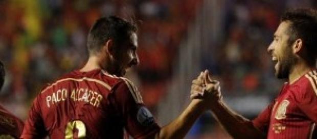 Alcácer, uno de los goleadores, junto a Jordi Alba