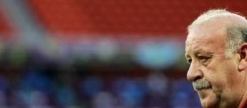 Vicente del Bosque en un partido con su selección.