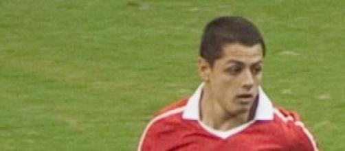 Chicharito en su época en el Manchester.