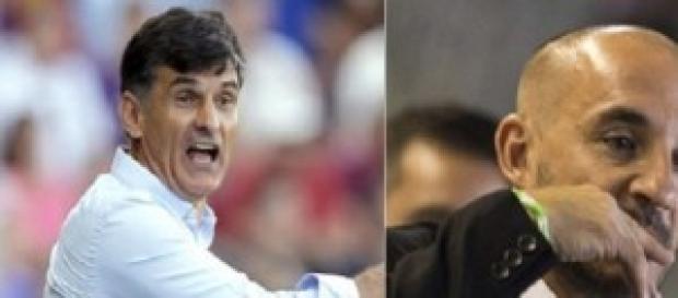"""Mendilibar y """"Chapi"""" Ferrer, los ex-entrenadores."""