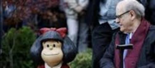 Quino con Mafalda en Oviedo