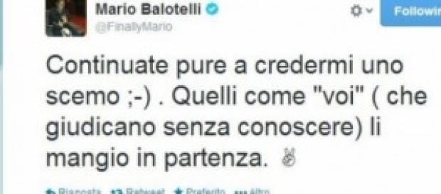 Mario Balotelli sul suo profilo Twitter