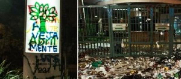 Lixo e pichações em frente à Editora Abril