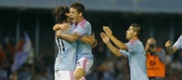 Los vigueses celebran uno de sus goles