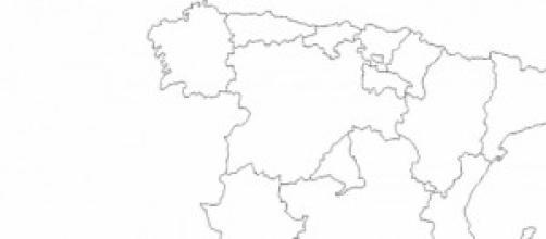 Mapa mudo de la España actual