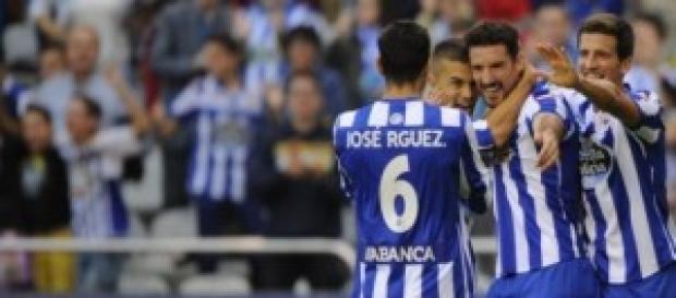 El Deportivo en un gol ante el Valencia CF