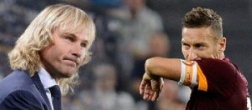 Nedved punzecchia Francesco Totti