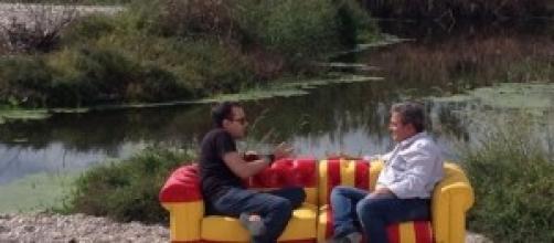 Momento de una entrevista de Risto Mejide.