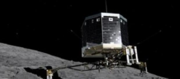 La Sonda Philae mentre atterra sulla cometa