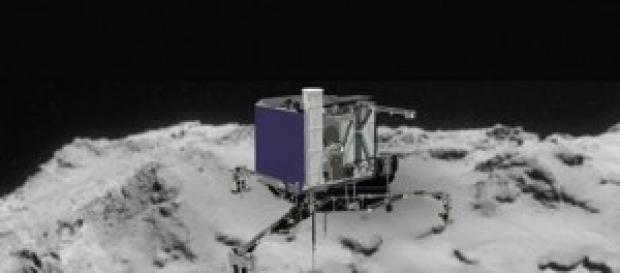 Nave espacial Philae uma vez pousada no cometa