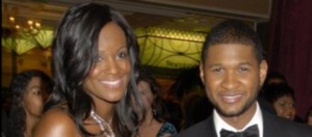 Usher con su ex-mujer Tameka en el 2008.