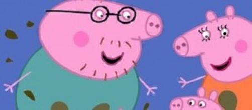 La famiglia di Peppa Pig in  una scena
