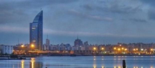 Atardecer en la bahía de Montevideo.