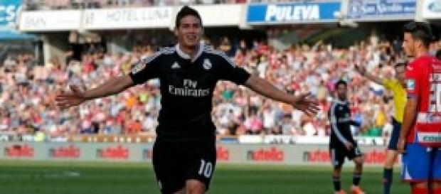James celebrando primer gol. Foto: Real Madrid