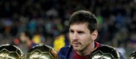 Messi con sus balones de oro.