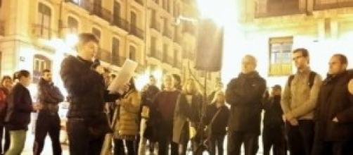 Imagen de la concentración anoche en Alcoy