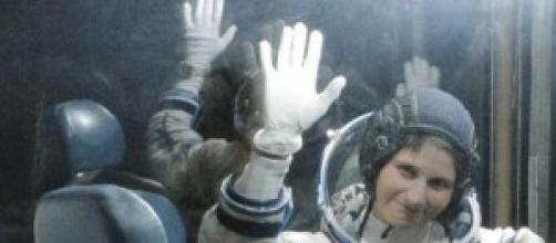 Samantha Cristoforetti prima del lancio