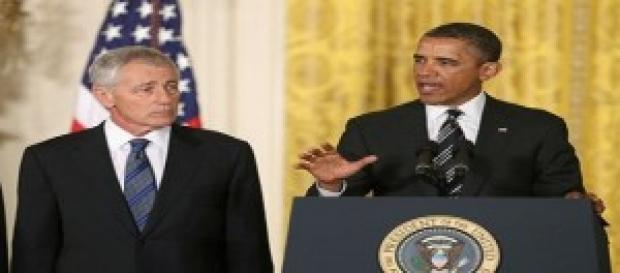 Obama y su ya ex Secretario de Defensa Hagel Chuck