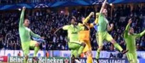 L'esultanza dopo la vittoria fuori casa col Malmoe
