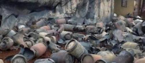 Les bouteilles de gaz après la catastrophe