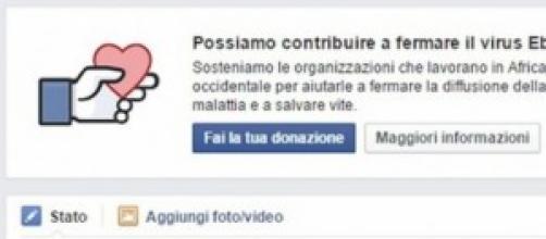 Facebook, donazione Virus Ebola