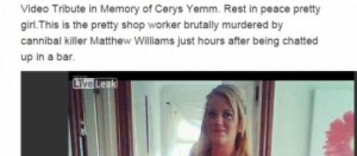 Video in ricordo di Cerys uccisa da un pazzo