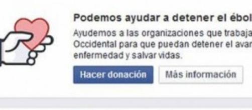 Facebook habilita boton donacion contra el Ébola