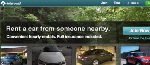 L'home page del sito di Getaround