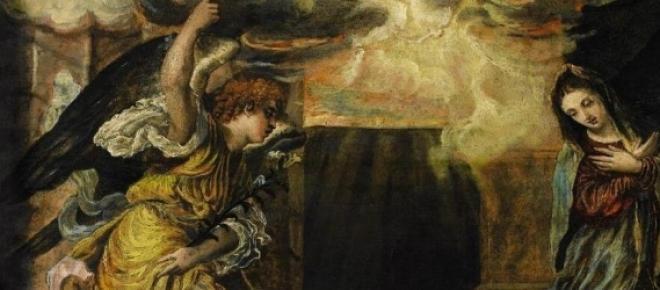 Detalle del cuadro La Anunciación del Greco