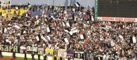 Partizan fans celebrate their league win in 2005