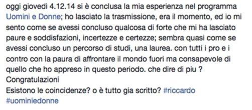 Riccardo Delicati accusa? Ecco lo sfogo