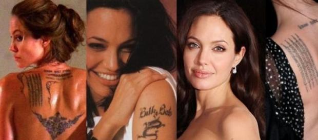 Angelina Jolie tiene 17 tatuajes.