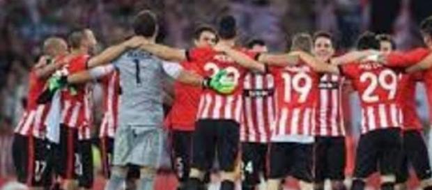 Celebración del Athletic tras la victoria