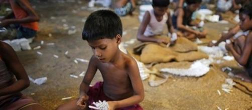 Bambini schiavi lavoratori di sigarette