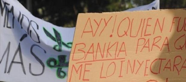 Rally in Madrid against Bankia