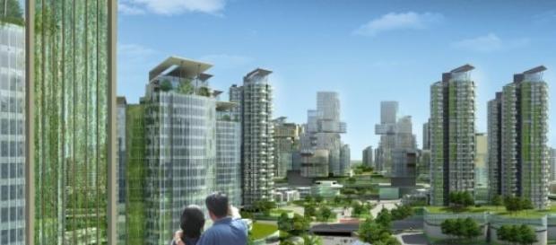 Recreación de una ciudad futurista ecológica