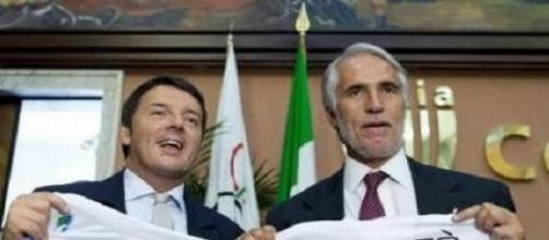 Renzi, con il presidente del Coni, Malagò