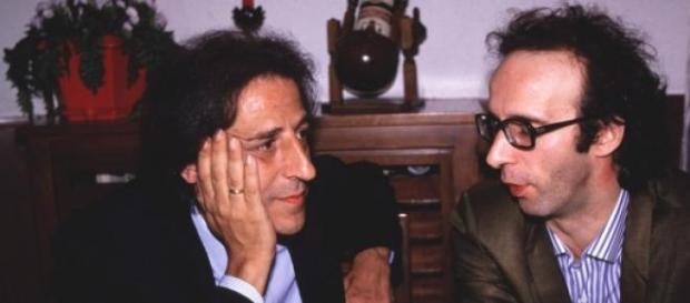 Una rara foto di Benigni con Giorgio Gaber nel '90